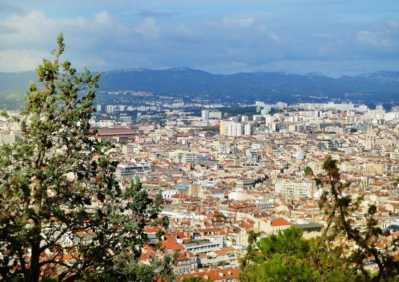 Panoramic view of Marseille from the top Of Notre Dame de La garde Cathedral, South of France on a Sunny day. Panorama, building, city, architecture, cityscape royalty free stock photography