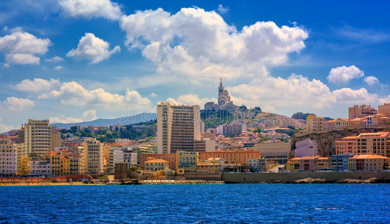 Marseilles city panorama, Provence, France. Panoramic view of Marseilles city with Notre Dame de la Garde cathedral, France royalty free stock photo