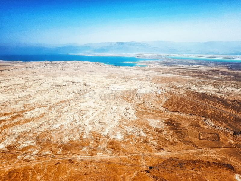Masada summit and Dead Sea in Judea Negev desert, Israel royalty free stock images
