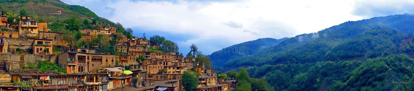 Panoramic view of Masouleh, Iran. Masouleh, Village on the Roof in Iran royalty free stock photo