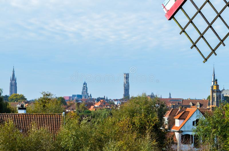 Panoramic view of the medieval city of Bruges in northern Belgium royalty free stock photo