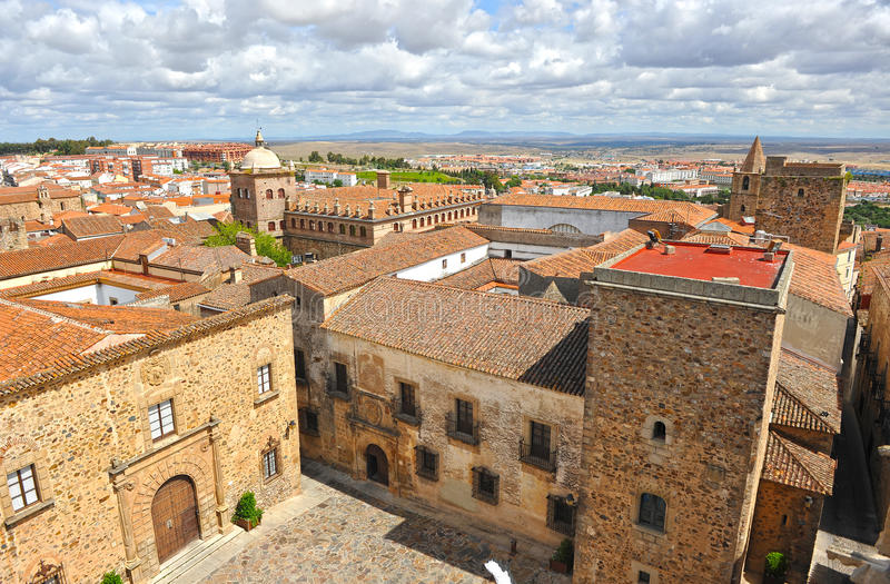 Panoramic view, medieval city, Caceres, Extremadura, Spain stock images