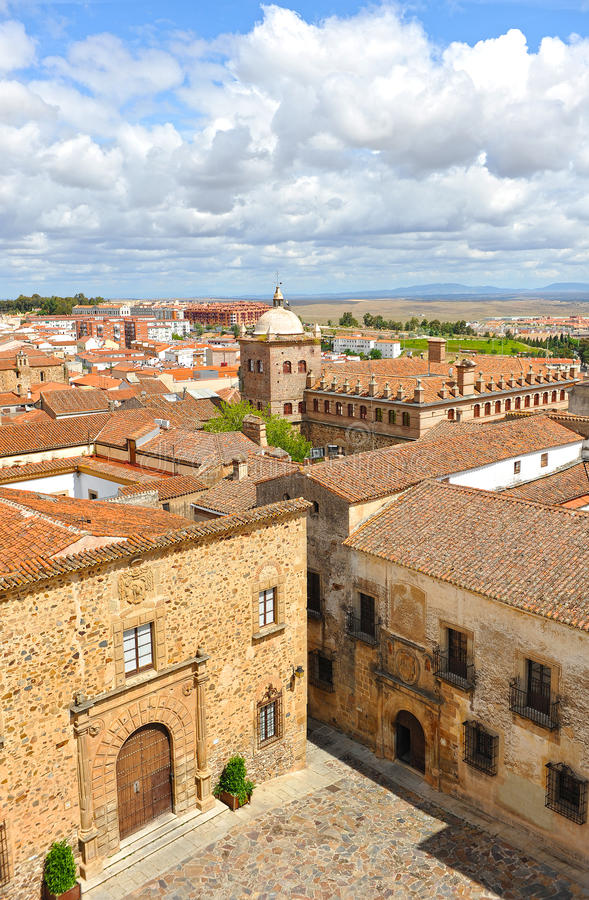 Panoramic view, medieval city, Caceres, Extremadura, Spain royalty free stock photo