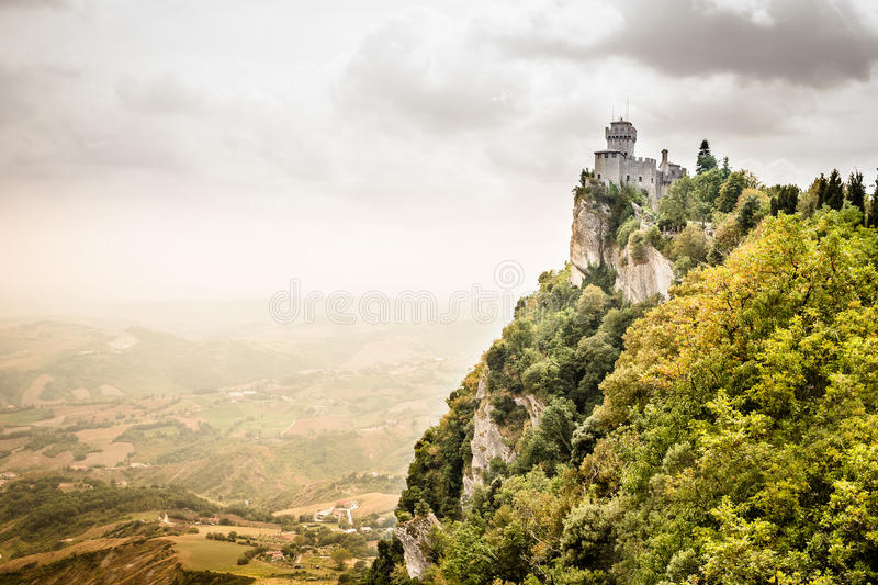 Panoramic view of the medieval fortress De La Fratta or Cesta in. Beautiful panoramic view of the medieval fortress De La Fratta or Cesta overlooking the green royalty free stock photos