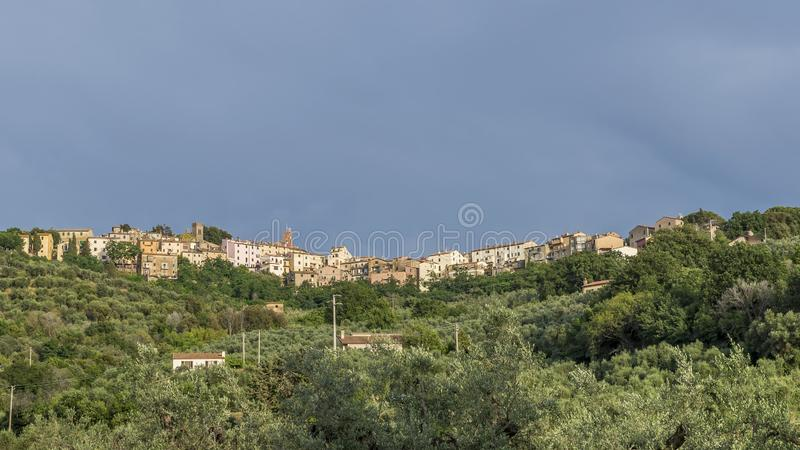 Panoramic view of the medieval village of Castagneto Carducci, Livorno, Tuscany, Italy. Europe stock photo