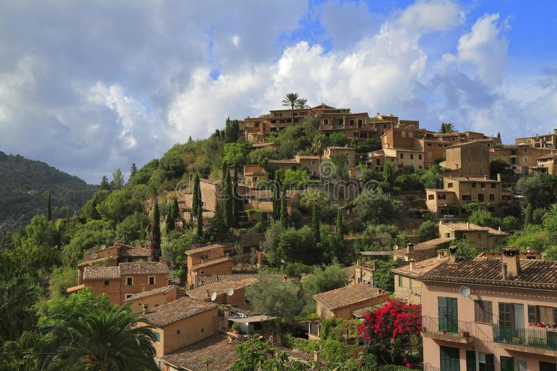 Panoramic view of the mediterranean village of Deja in Majorca, Spain. Panoramic view of the mediterranean village of Deja in Mallorca, Spain stock photos
