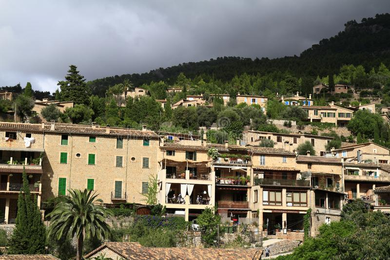 Panoramic view of the mediterranean village of Deja in Mallorca, Spain. Panoramic view of the mediterranean village of Deja in Majorca, Spain stock photography
