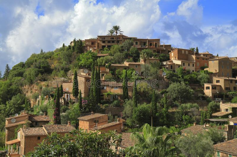Panoramic view of the mediterranean village of Deja in Mallorca, Spain. Panoramic view of the mediterranean village of Deja in Majorca, Spain royalty free stock image