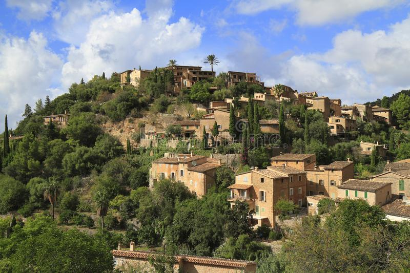 Panoramic view of the mediterranean village of Deja in Mallorca, Spain. Panoramic view of the mediterranean village of Deja in Majorca, Spain royalty free stock photography
