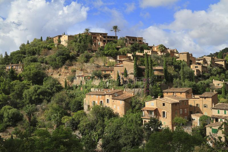 Panoramic view of the mediterranean village of Deja in Mallorca, Spain. Panoramic view of the mediterranean village of Deja in Majorca, Spain royalty free stock images