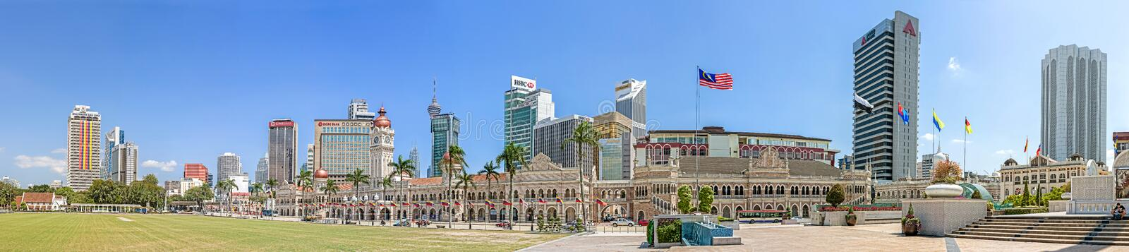 Panoramic view of Merdeka Square. Kuala Lumpur, Malaysia - January 16, 2015: Panoramic view of Merdeka Square and The Sultan Abdul Samad Building, venue for the royalty free stock photos