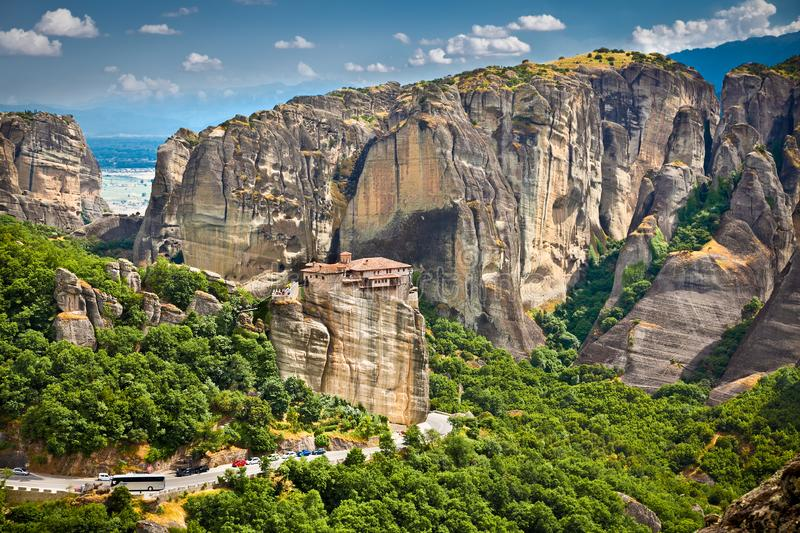 Panoramic view on Meteora in Trikala, Greece. Panoramic view on Meteora monastery in Trikala, Greece royalty free stock images