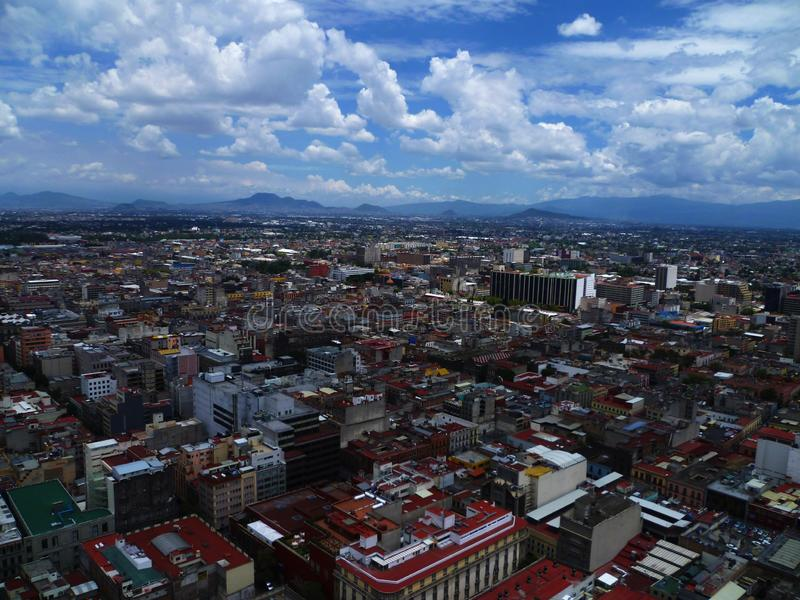 Panoramic view of Mexico City on the Latin America tower, in the downtown area. Cities, high, sky, clouds, blue, build, buildings, urbsn, urban, urbanism stock image