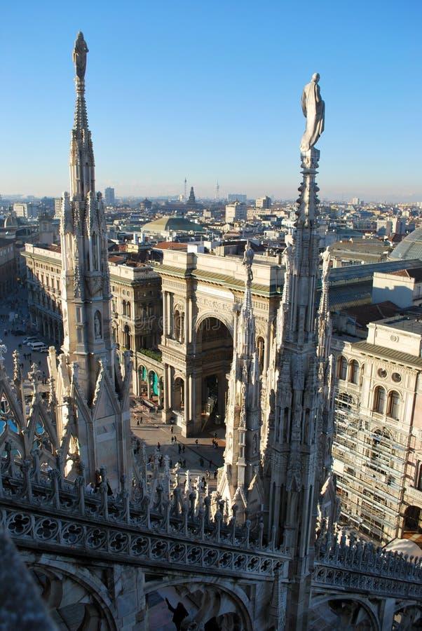 Panoramic view of Milan royalty free stock photos