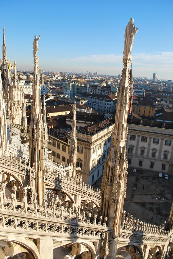 Panoramic view of Milan stock photo