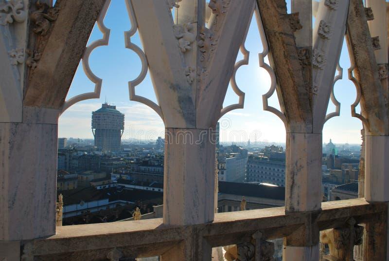 Panoramic view of Milan stock photography