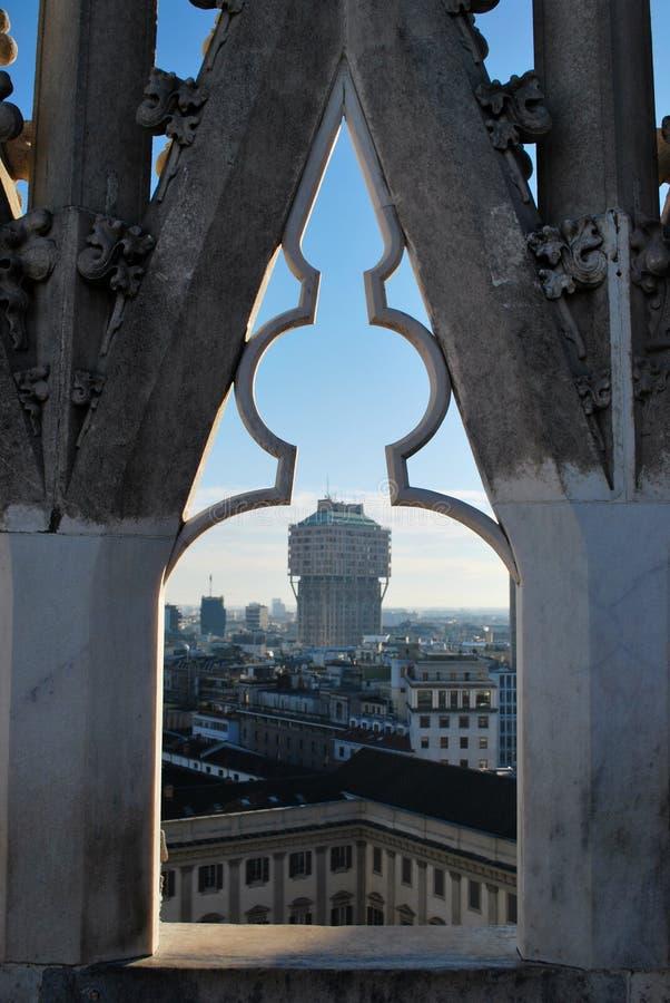 Panoramic view of Milan stock images
