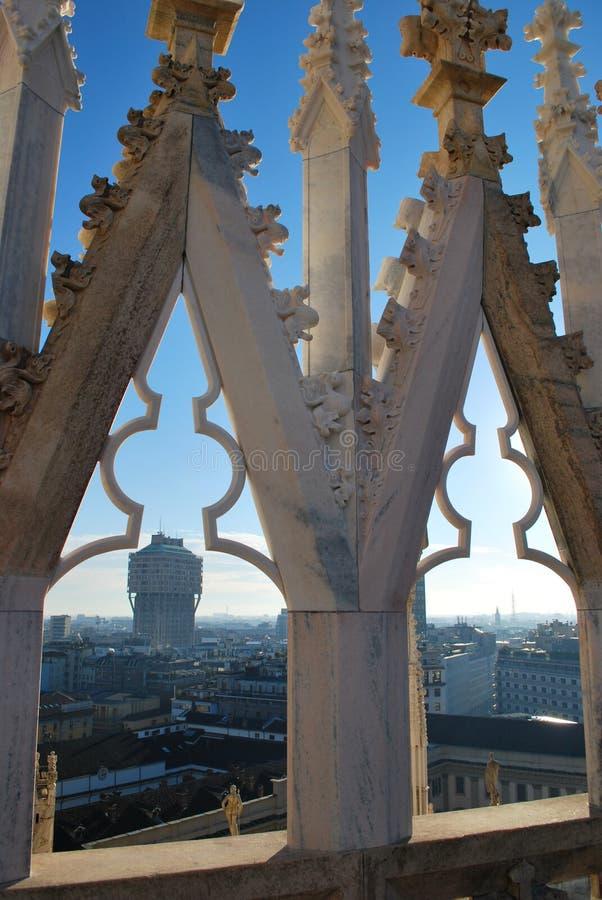 Panoramic view of Milan stock photos