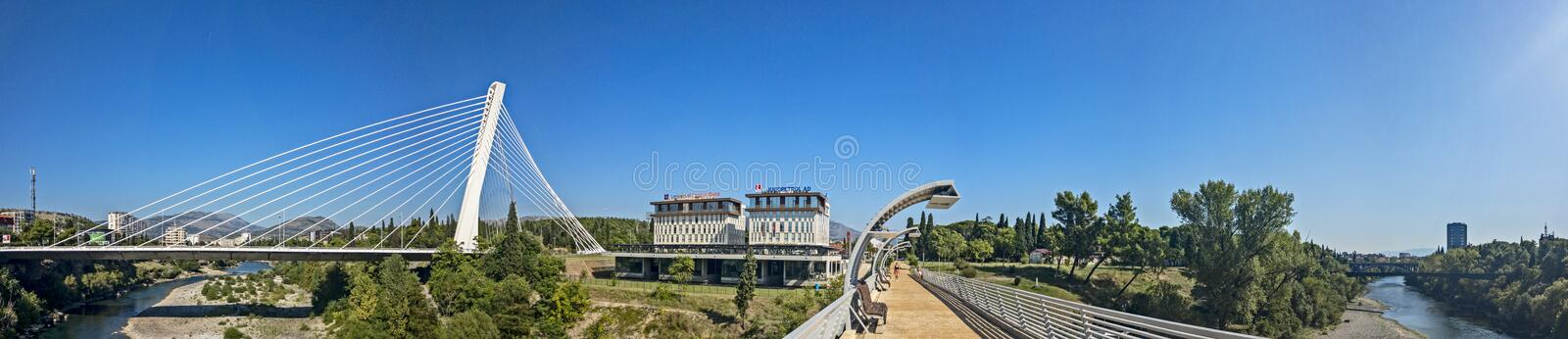 Panoramic view of the Millenium Brigde, from a project by Santiago Calatrava, seen from the Moscow Bridge. Montenegro. Podgorica. Panoramic view of the Millenium royalty free stock image