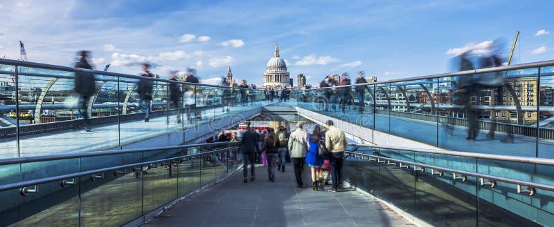 Panoramic view of the Millenium footbridge stock image