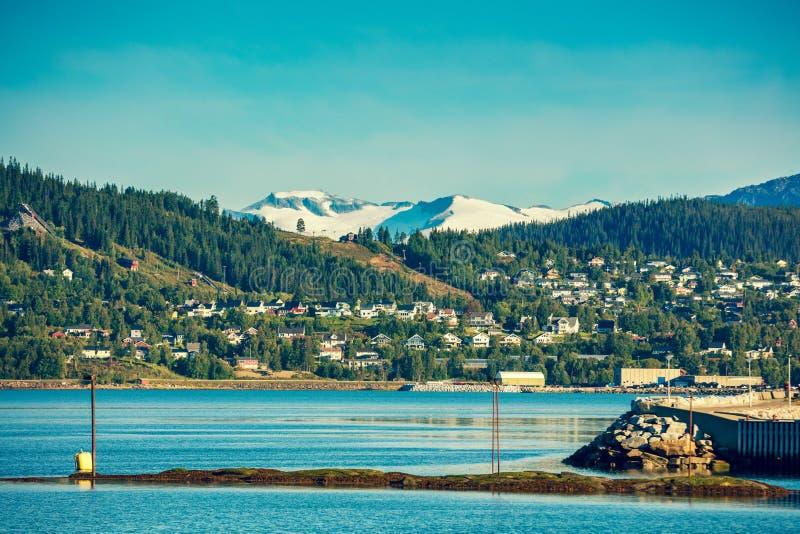 Panoramic view of Mo i Rana city. Panoramic view of fjord and Mo i Rana city. Norway royalty free stock images