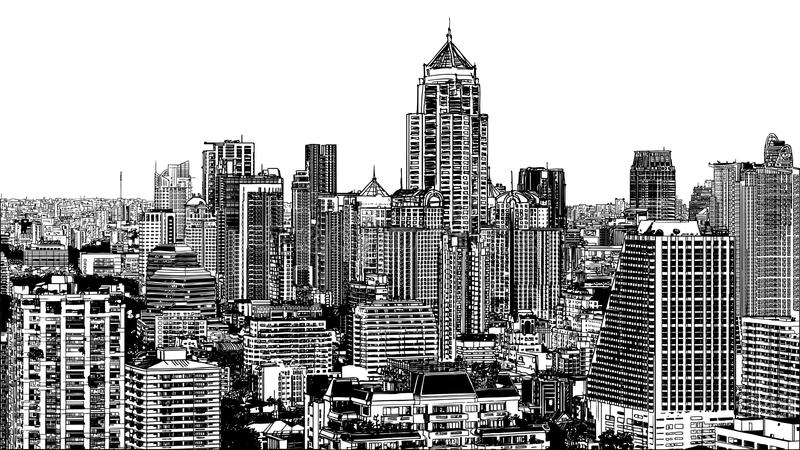 Download Panoramic View Of Modern Bangkok Near Asok Stock Vector - Illustration: 24976879