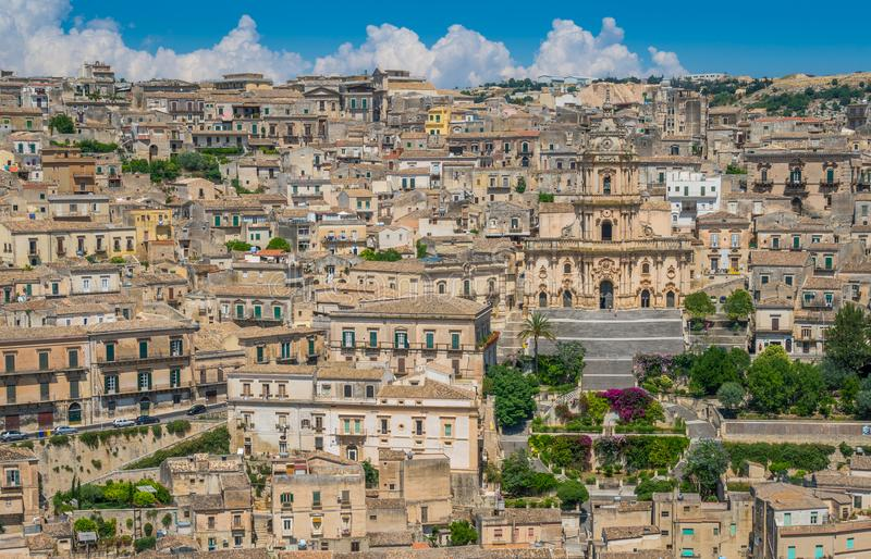 Panoramic view in Modica, province of Ragusa, Sicily. royalty free stock photos