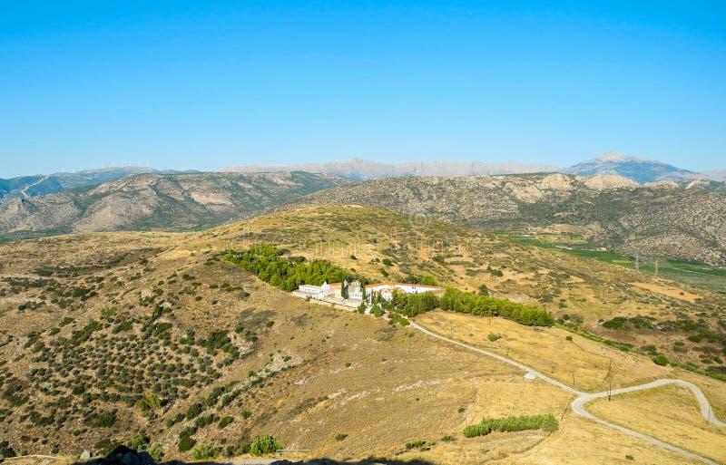 Moni Agion Anargiron. Panoramic view of the Monastery of Agioi Anargyroi, Argos, Greece royalty free stock photography