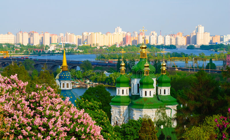 Panoramic view of a monastery in Kiev. Ukraine royalty free stock photo