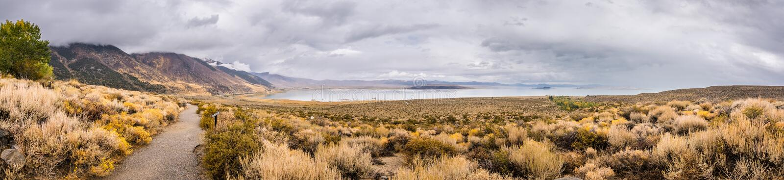 Panoramic view of the Mono Lake area royalty free stock image