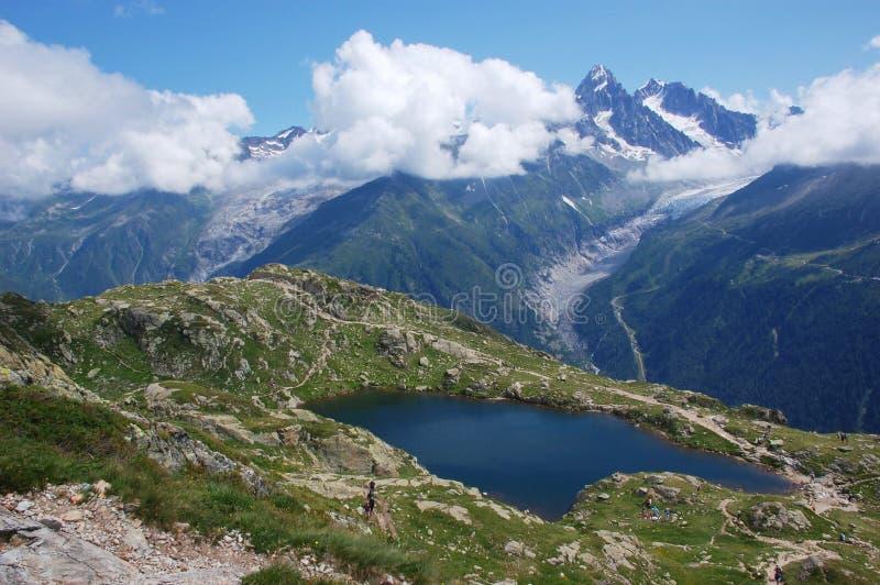 Panoramic view on Mont Blanc massif stock photo
