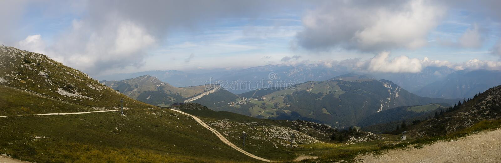 Panoramic view Monte Baldo Italy. Panoramic view from Monte Baldo north Italy royalty free stock photography