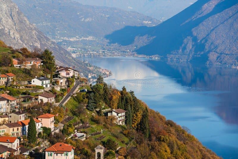 Panoramic view on Monte Bre, Lugano, Switzerland.  stock photo