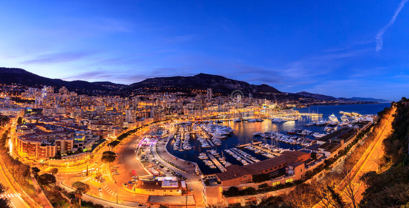 Panoramic view of Monte Carlo harbour in Monaco. stock photos