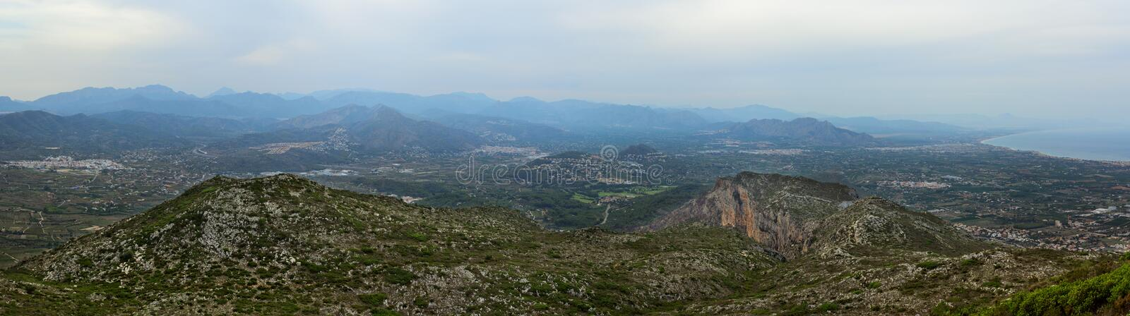 Panoramic view at Montgo. View from the top of Mount Montgo, Denia, Spain royalty free stock image