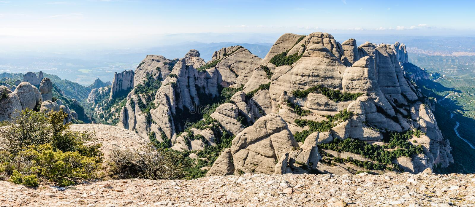 Panoramic view in Montserrat Mountain, Spain royalty free stock image