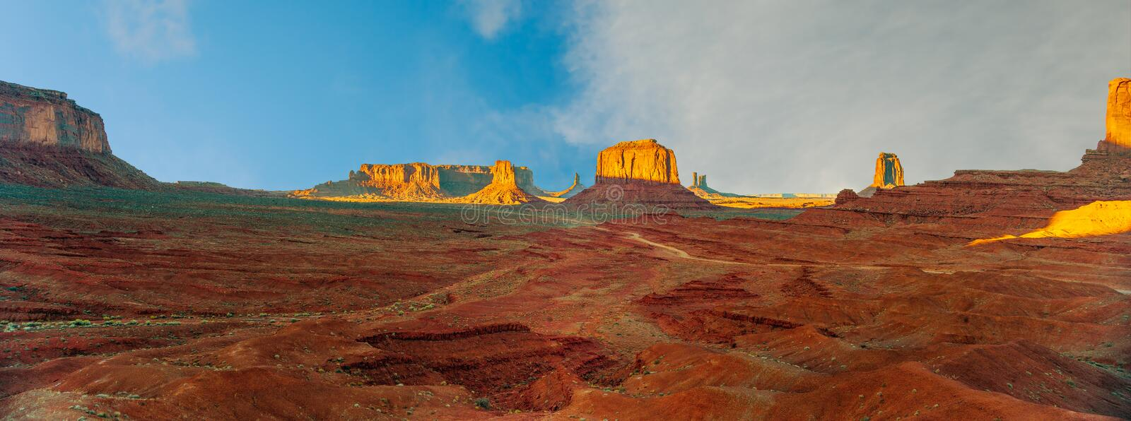 Panoramic view of monument valley from John Ford`s point in Navajo Nation's Monument Valley Park.Arizona.USA stock photo