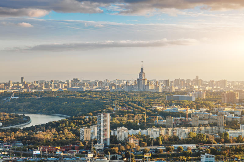 Panoramic view of Moscow city stock image