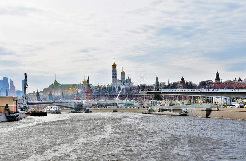 Panoramic view of Moscow Kremlin, the Moscow river and Zaryadye park royalty free stock photography