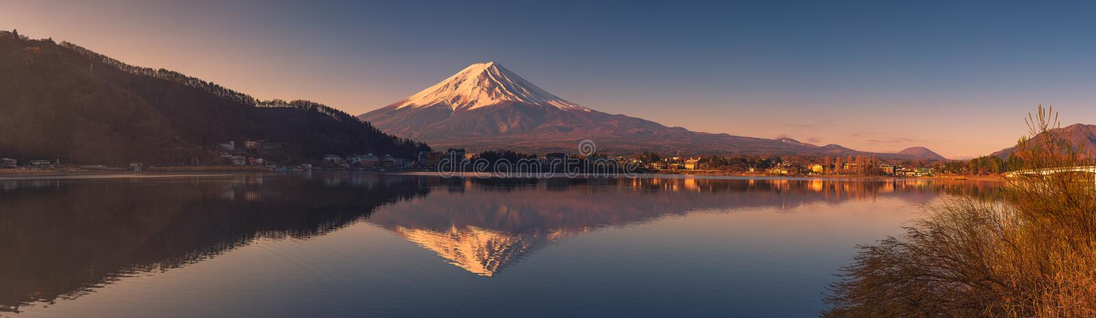 Panoramic View of Mount Fuji at Lake Kawaguchi stock images
