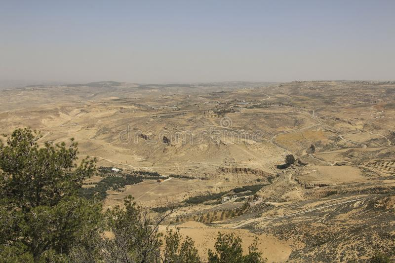 Panoramic view from Mount Nebo in Jordan where Moses viewed to t stock photo