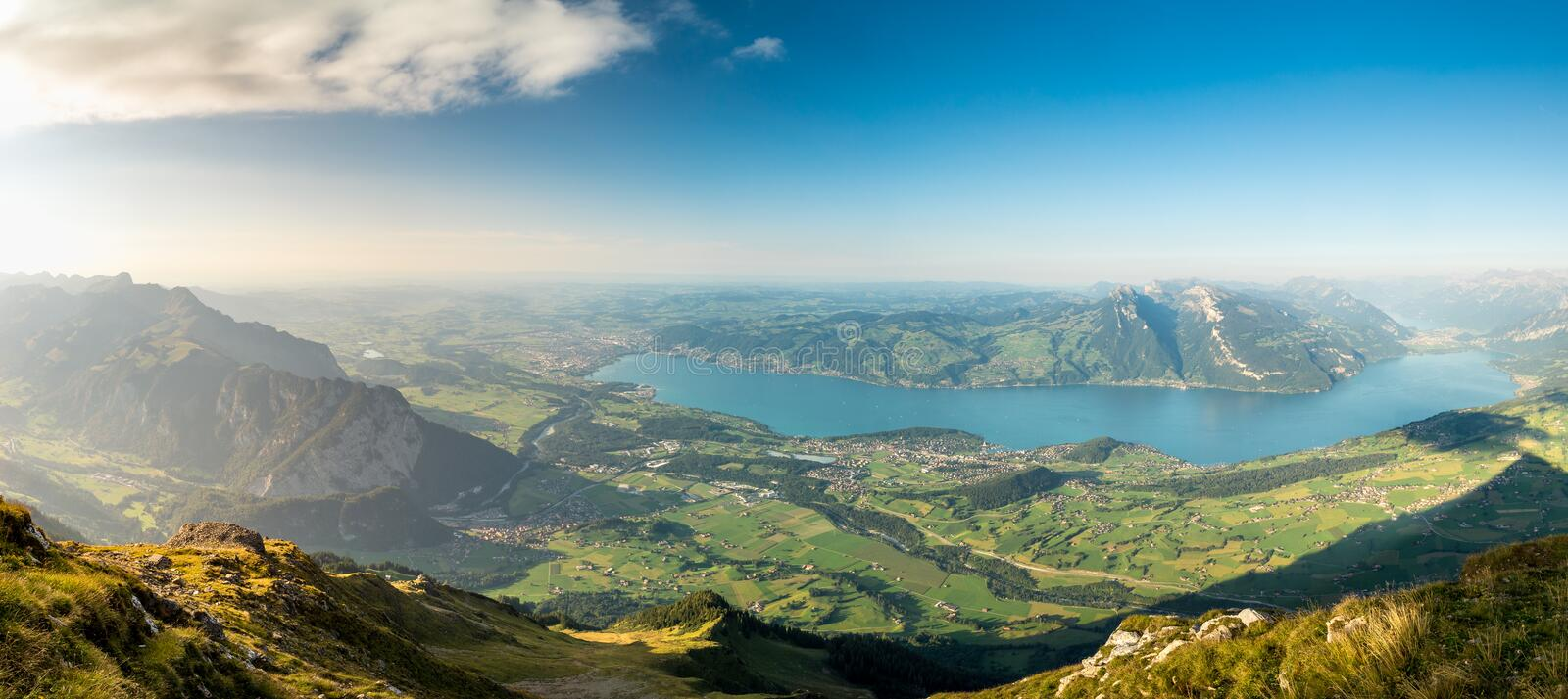 Panoramic view from Mount Niesen with Thun and Spiez. Summer Panorama of Thunersee Area in Berner Oberland with Thun, Spiez and Interlaken stock photos