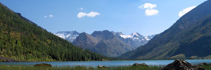 Panoramic view of mountain lake stock photos