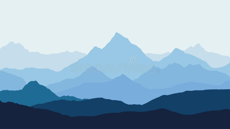Panoramic view of the mountain landscape with fog in the valley below with the alpenglow blue sky and rising sun. Vector royalty free illustration