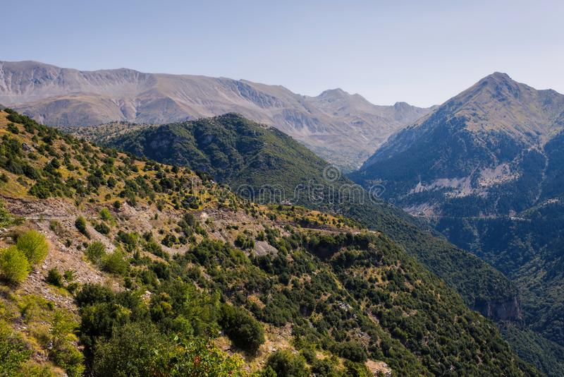 Panoramic view of mountain in National Park of Tzoumerka, Greece Epirus region. Mountain royalty free stock image
