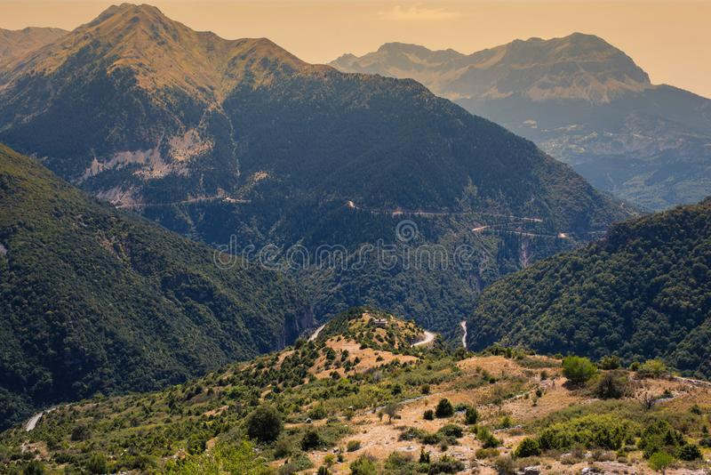 Panoramic view of mountain in National Park of Tzoumerka, Greece Epirus region. Mountain stock photo