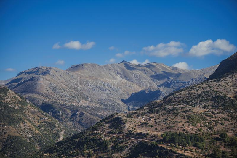 Panoramic view of mountain in National Park of Tzoumerka, Greece Epirus region royalty free stock photography