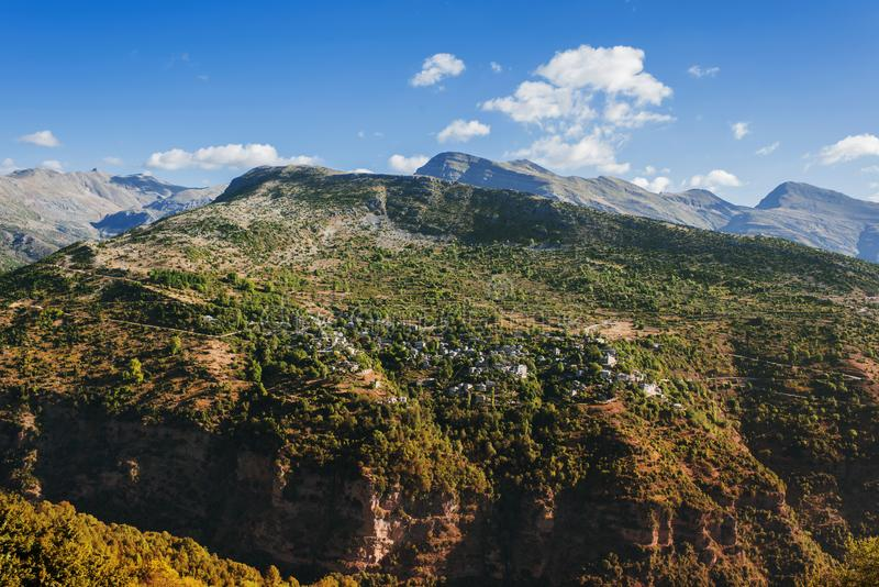 Panoramic view of mountain in National Park of Tzoumerka, Greece Epirus region stock images