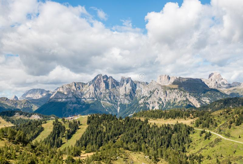Panoramic view of mountain ranges in Dolomites, Italy royalty free stock photos