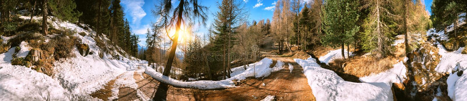 Panoramic view of mountain road, Alps Switzerland royalty free stock image